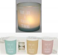 Teelicht aus Glas, mit Spruch 30.5x7x8cm 3er Set mit 4 Teelichter