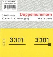 Doppelnummer gelb 120x60mm 3001-4000
