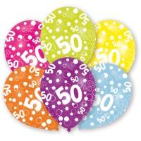 Amscan 6 Ballone Zahl 50 27.5cm