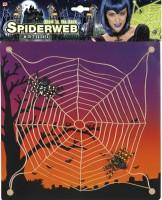 Spinnennetz 27x27cm mit 2 Spinnen, nachtleuchtend