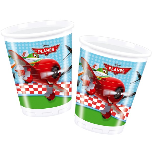8 Plastikbecher 200ml Planes