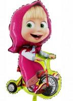 Silberfolienballon Masha auf dem Fahrrad