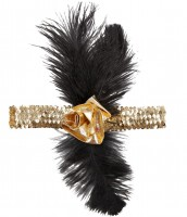 Goldenes 20er Stirnband mit Feder