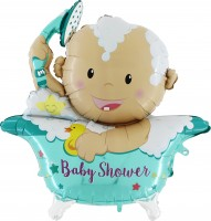 Silberfolienballon Baby Star Shower