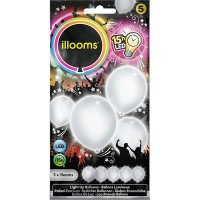5 LED Ballone weiss