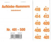 Aufklebenummern für Gabentisch 401-500