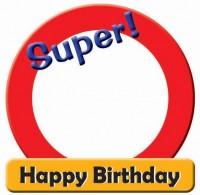 Dekoschild Super! Happy Birthday