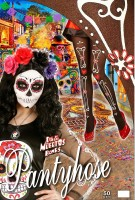 Strumpfhose schwarz Knochen Dia de los Muertos XL