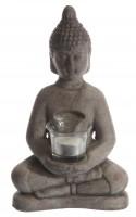 Sitzende Buddha-Statue mit Windlicht