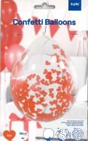 Konfettiballone mit roten Herzen Konfettis 4 Stk. 30cm