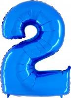 Silberfolienballon blau, Zahl 2