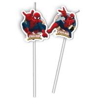 6 Trinkhalme Spiderman 24cm