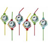 Amscan 8 Trinkhalme Fussball