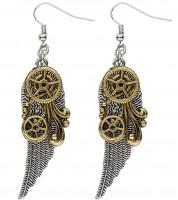 Steampunk Ohrringe mit Flügel