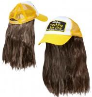 Gelber Truckerhut mit Haaren