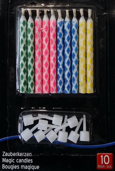 Zauberkerze 10 Stück bunt