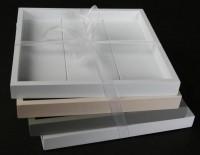 4er Set Holztablett quadratisch