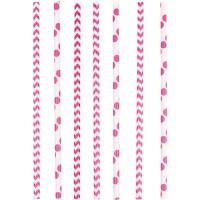 Amscan 24 Papier Strohhalme pink