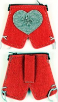 Lederhosen-Geldbörse mit Edelweiss rot