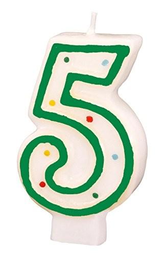 Zahlenkerze 5 grün