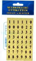 Etiketten selbstklebend gold Zahlen 1-9   5 Blätter