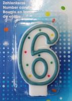 Zahlenkerze 6 blau