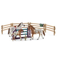 Schleich Set Lisa Turnier-Training & Pferde Appaloosas