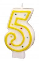 Zahlenkerze 5 gelb