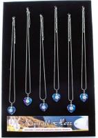 Halskette Kristallherz mit handbemaltem Edelweiss