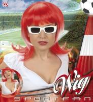 Sportfan Perücke rot-weiss