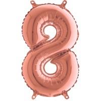 Silberfolienballon rose gold, Zahl 8