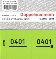 Doppelnummer grün 120x60mm 1-500
