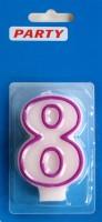 Zahlenkerzen weiss Zahl-8
