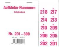 Aufklebenummern für Gabentisch 201-300