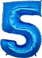 Silberfolienballon blau, Zahl 5