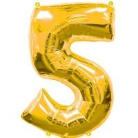 Silberfolienballon 5 gold