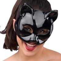 Fasnacht Maske zum Selbstbemalen Katze schwarz