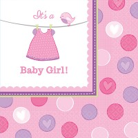 Amscan 16 Servietten Baby Shower Girl 33x33cm