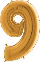 Silberfolienballon gold, Zahl 9