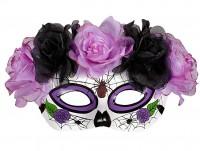 Violette Dia de los Muertos Augenmaske