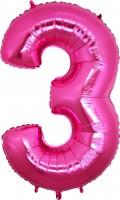 Silberfolienballon pink, Zahl 3