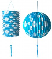 Blaues Lampion & Laternen-Set