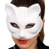 Fasnacht Maske zum Selbstbemalen Katze weiss