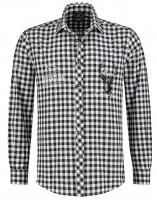 Trachtenhemd Schwarz-weiss kariert XL