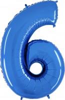 Silberfolienballon blau, Zahl 6