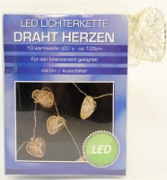 LED Lichterkette Drahtherzen