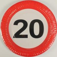 Partyteller Verkehrsschild 20 Jahre