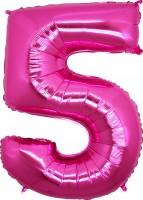 Silberfolienballon pink, Zahl 5