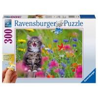 RAVENSBURGER Puzzle Katze im Blumenmeer