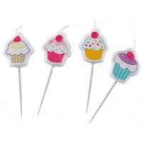 Amscan 4 Mini-Figurenkerzen Cupcake